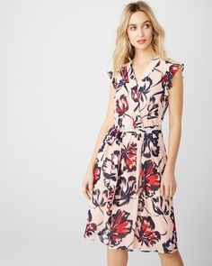 RW & Co Chiffon dress with ruffles Dress Outfits, Dresses, Chiffon Dress, Ruffles, Wrap Dress, Casual, Shopping, Clothes, Commercial