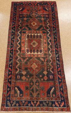 Persian Hamedan Tribal Hand Knotted Wool Navy Rust Oriental Rug 4 x 5 Asian Rugs, Black Rug, Oriental Rugs, Tribal Rug, See Picture, Persian, Rust, Bohemian Rug, Blues