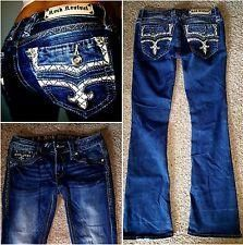 BUCKLE ROCK REVIVAL CARESS BOOT CUT STRETCH EMBELLISHED BLING JEANS~SIZE 27 X 31