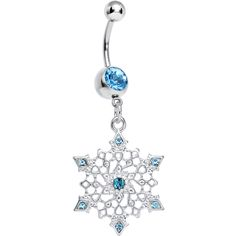 Snowflake navel with blue gems