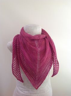 This shawl is made of a garter stitch body with an easy lace border.