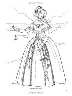 Victorian lady and soldier coloring pages for adults Fashion