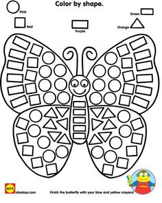 Practice identifying shapes while coloring in a beautiful butterfly printable! Looking for more opportunities to work with shapes? Check out our Alex Toys Ready Preschool Learning, Kindergarten Worksheets, Preschool Activities, Preschool Forms, Alex Toys, Coloring Pages, Coloring Worksheets, Printable Butterfly, Insects