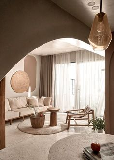 Studio Interior, Apartment Interior, Apartment Design, One Wall Kitchen, Terrazo, Curved Walls, Open Plan Kitchen, Home Studio, Open Plan Living