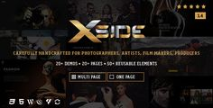 XSide - Responsive Photography Theme . A minimal, stylish and responsive WordPress photography theme. Focusing on large photos and your story. The XSide is a creative WordPress portfolio theme which is focused on photographer, designer, film makers, freelancer, architects, artists and many more individual who want to showcase his/her