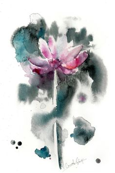 Flower Watercolor Painting Art Print, Abstract Floral Wall Art,  Pink Emerald, Modern Watercolour Art