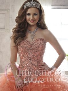 3c75f2cce8c 2017 New Elegant Coral Quinceanera Dresses Ball Gown Organza With Beaded  Sequin Sweet 16 Dress Vestidos