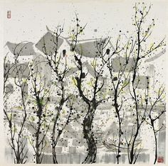 Chinese ink, color and wash on paper painting attributed to Wu Guanzhong of an abstracted landscape depicting a stylized riverside village beyond wavy tree. Chinese Contemporary Art, Chinese Art, Modern Art, Wu Guanzhong, Japanese Calligraphy, China Painting, Linocut Prints, Watercolor And Ink, Abstract Landscape