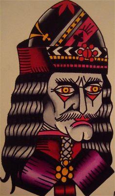 Vlad the Impaler, killer old school tattoo flash, great style!