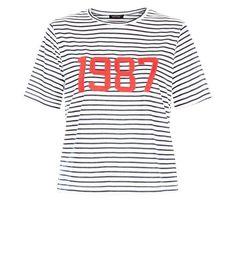 Blue Stripe 1987 Applique T-Shirt