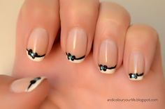 French manicure with bow