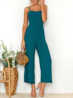 797302e2510f Solid Color Spaghetti-neck Wide Leg Jumpsuits