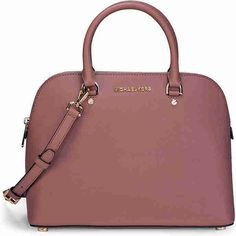 Michael Kors Cindy Large Saffiano Leather Satchel - Dusty Rose ($191) ❤ liked on Polyvore featuring bags, handbags, michael kors purses, michael kors, michael kors satchel, shoulder strap purses and saffiano leather satchel