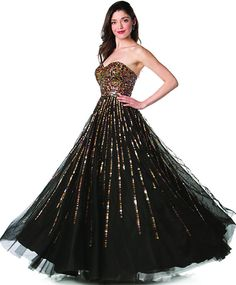 Black/Gold Long Prom Gown Sequin Ruched Strapless Sweetheart Empire (Size XS to 6XL)