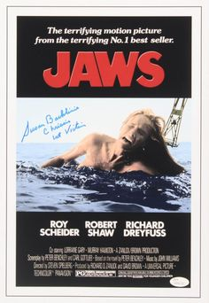 """Susan Backlinie Signed """"Jaws"""" Movie Poster Inscribed """"Chrissie"""" and Victim"""" Attack Movie, Robert Ri'chard, Zombie Hunter, Steven Spielberg, Films, Movies, Sharks, One Pic, Movie Posters"""
