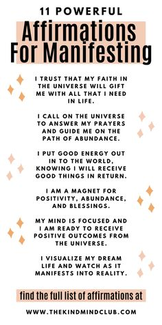 Increase your intuitive powers and manifestation abilities with these 11 powerful affirmations. Manifestation affirmations for abundance, health, money, and blessings. Law of attraction through words of affirmation and positive vibration. Daily Positive Affirmations, Positive Affirmations Quotes, Morning Affirmations, Money Affirmations, Affirmation Quotes, Affirmations For Love, Healing Affirmations, Positive Words Of Affirmation, Prosperity Affirmations