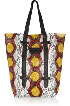 Love the contrast of colors and big enough for my Mac Book Air - Proenza Python-effect leather tote