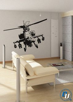 Apache Helicopter - Removable Vinyl Wall Decal Art Decor Sticker Mural Modern Military. $49.99, via Etsy.