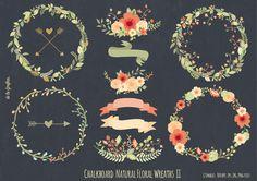 Chalkboard Natural Floral Wreaths II - Illustrations - 1