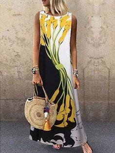 Maxi Dresses Jewel Neck Sleeveless Printed Long Dress #Bohemian #bohostyle #spring2021 #summenr #likeforlike #comment #followforfollow #fashionlooks Women's A Line Dresses, Cheap Maxi Dresses, Shift Dresses, Types Of Dresses, Summer Dresses, Women's Dresses, Loose Dresses, Jovani Dresses, Holiday Dresses
