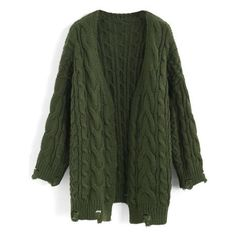 Chicwish Comfy Day Diary Cable Knit Cardigan in Army Green ❤ liked on Polyvore featuring tops, cardigans, green top, cardigan top, chunky cable knit cardigan, olive top and army green cardigan