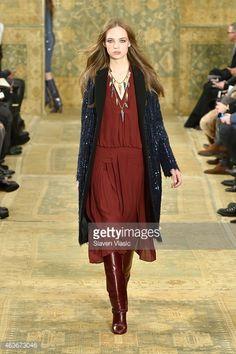 A model walks the runway at the Tory Burch fashion show during Mercedes-Benz Fashion Week Fall 2015 #Marsala