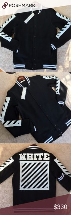 Off-White Varsity Jacket Brand new. All black with white strips and lettering. It runs one size smaller. Off-White Jackets & Coats Bomber & Varsity