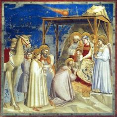 Giotto di Bondone - Adoration of the Magi (Scenes from the Life of Christ fresco Cappella degli Scrovegni - Padua Renaissance Kunst, Renaissance Artists, Painting Frames, Painting Prints, Fresco, Fra Angelico, Italian Paintings, Life Of Christ, Late Middle Ages