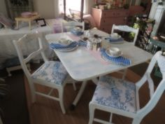 vintage mahogany dining set given new life with paint and sweet bird toile upholstery https://www.facebook.com/LaBelleBrocanteShop/