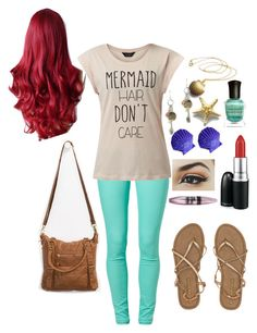 Modern Day: Ariel by taylor0016 on Polyvore featuring polyvore, fashion, style, SuperTrash, Billabong, T-shirt & Jeans, Disney, MAC Cosmetics, Maybelline, Deborah Lippmann, modern and clothing