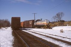 Medfield Junction. Bay Colony Railroad. February 26, 1987. Switching at Conrail interchange.