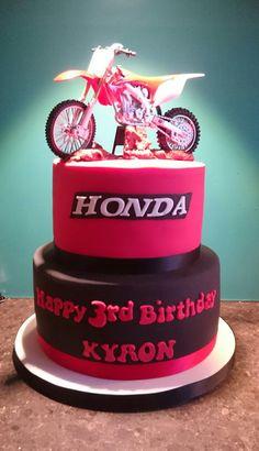 Tiered black and red Honda motorbike cake Birthday Cake Writing, 8th Birthday Cake, Birthday Party Themes, Boy Birthday, Motorcross Cake, Motorbike Cake, Motorcycle Birthday Parties, Dirt Bike Birthday, Dirt Bike Cakes