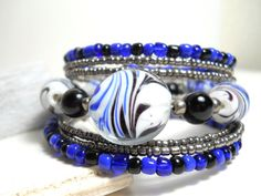 Memory Wire Bracelet Black and Blue  Beaded Wrap by WrappedandSnapped