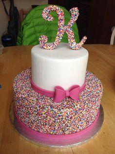 Beautiful Birthday Cake #sprinkles #monogram #letter