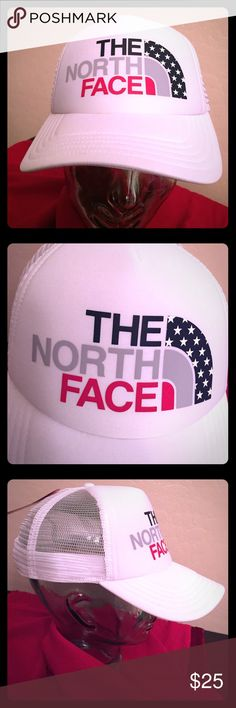 The North Face Women's USA Trucker Cap Authentic The North Face Women's USA Trucker Cap. OS. White with a Special The North Face Patriotic Logo on the Front Center. Another Smaller Patriotic Logo Tab on the Left Side. Other Colors are Cosmic Blue, Grey, & Red. 2 Solid White Panels in the Front. Others are White Mesh. Bill is Solid White on both Sides. White Button Top. White SnapBack. Brand New. Excellent Condition. No Trades. See other Casual Cool Caps in My Closet.  The North Face…