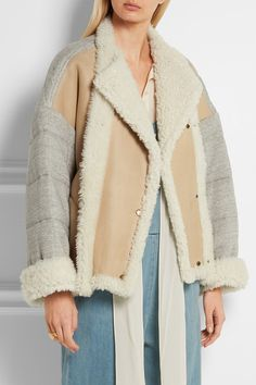 Cream shearling, gray cotton-jersey Snap fastenings through double-breasted front Fabric1: 100% shearling (Sheep); fabric2: 100% cotton; lining: 100% cotton Specialist clean Designer color: Milk Made in Italy