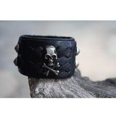 Skull Black Leather Metal Punk Rock Men Bracelets Cuff