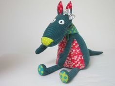 loup_turquoise_1 Softies, Plushies, Fox Toys, Dog Quilts, How To Make Toys, Dog Crafts, Dog Pattern, Sewing Toys, Best Friends Forever