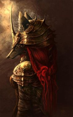 anubis...? With golden armor chest and red hijab.