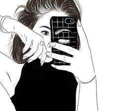 drawing outlines mirror selfie - Google Search