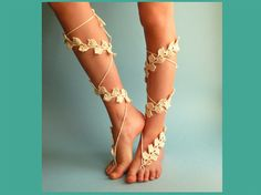 crochet barefoot sandles, ivory bridesmaid shoes, for beach wedding foot jewelry, boho slave anklet, gypsy sandals, white lace, $23.00