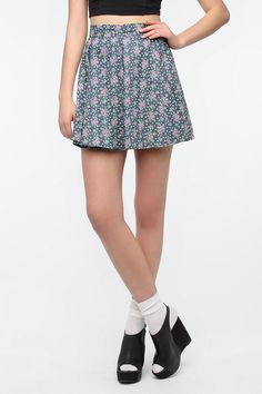 Lucca Couture Chambray Skater Skirt | UrbanOutfitters Exclusive