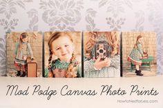 canvas photo mod podge prints