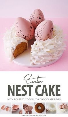 How to make a nest shaped cake with roasted coconut and chocolate speckled eggs. An easy spring treat for Easter dessert! Easter Deserts, Easter Treats, Mini Tortillas, Easter Lunch, Easter Food, Easter Eggs, Spring Treats, Easter Cupcakes, Easter Cake