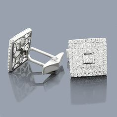 18K Round & Princess Diamond Designer Cufflinks 4.59ct