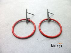 Modern Enameled Oxidized Silver Earrings Minimalist by KIMYAJOYAS