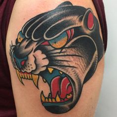 #traditional #black #panther #tattoo #panthertattoo #christianotto #burnoutink #npng #suffercitytattoos #nofilter