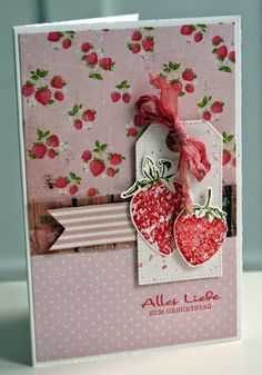 card with nerry berries strawberry strawberries Photo Booth Setup, Fruit Crafts, Sweet 16, Card Tags, Diy Cards, Stampin Up Cards, Stamp Up, Gift Guide, Cardmaking