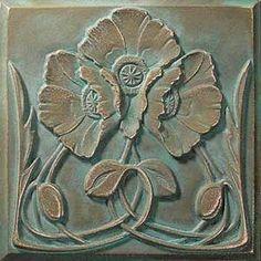 Art nouveau poppies tile by shannon