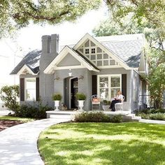 The cutest gray painted brick house! Also this weeks favorite finds are up on B… The cutest gray painted brick house! Also this weeks favorite. Exterior Paint Colors, Exterior House Colors, Exterior Design, Colonial Exterior, Paint Colours, Exterior Shutters, Tudor Exterior Paint, Black Trim Exterior House, 1930s House Exterior